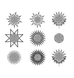 set of hipster line round emblems vector image