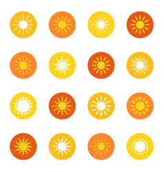set of sun icons on color background vector image