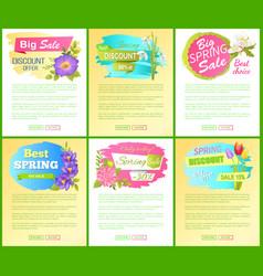 set spring big sale off advertisement labels vector image
