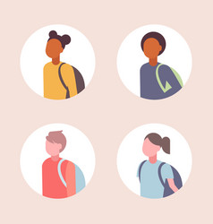 set women men students avatar casual mix race vector image