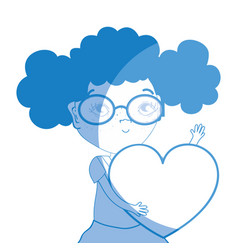 Silhouette pretty girl with heart and glasses vector