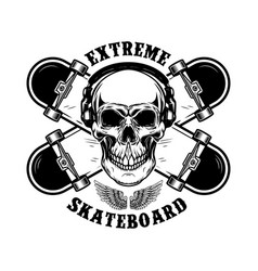 Skateboarder emblem crossed skateboards and skull vector