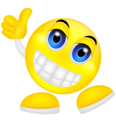 Smiley emoticon with thumb up vector image