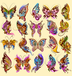 tattoo art design butterfly collection vector image