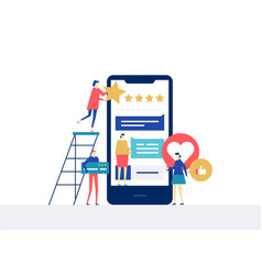 testimonials on social media - flat design style vector image