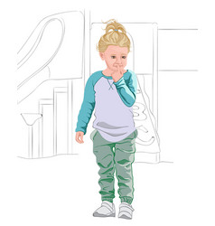 Thoughtful blonde kid in light blue and white t vector