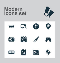 Tourism icons set with airplane ticket shorts vector