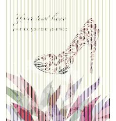 Vintage floral greeting card shoes vector image