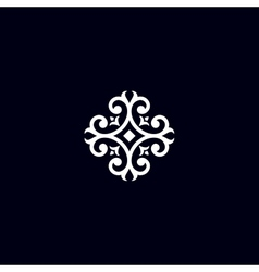 Vintage flower emblem vector image