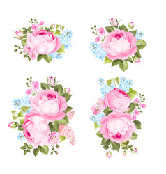 Vintage flowers set overwhite background vector