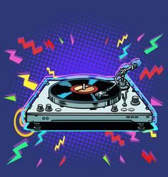 Vinyl record player eighties style vector