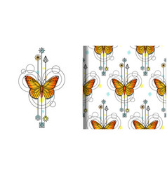 Watercolor butterfly print and seamless vector