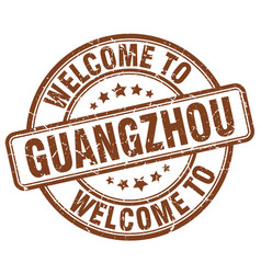 Welcome to guangzhou brown round vintage stamp vector