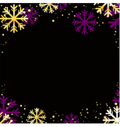 winter background with golden snowflakes vector image