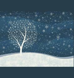 Winter card snowfall with snowy tree vector