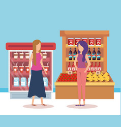 Women in supermarket shelving with products vector