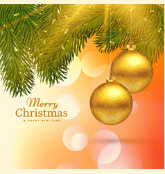 beautiful merry christmas greeting card design vector image