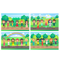 children hold hands together out on nature set vector image