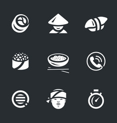 set of sushi service icons vector image