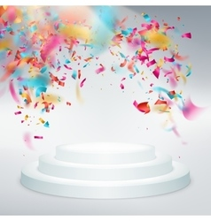 Winner podium confetti with light rays EPS 10 vector image vector image