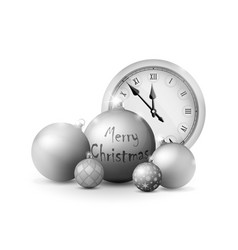 Xmas and new year decorations silver christmas vector