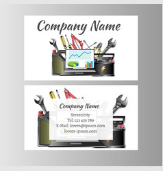 auto repair business card template vector image vector image