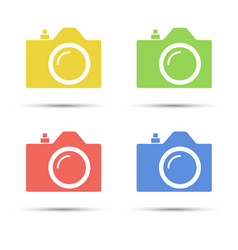 Common slr camera color icons placed on white vector