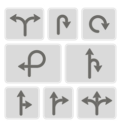 monochrome icons with direction arrow vector image