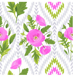 pattern with flowers leaves ikat elements vector image vector image