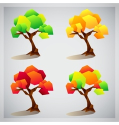 Set of four colorful geometric trees icons vector image