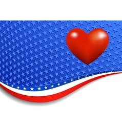 Stars and Stripes Landscape with Heart vector image