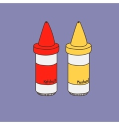 Two cute hand-drawn fastfood sauces vector image vector image