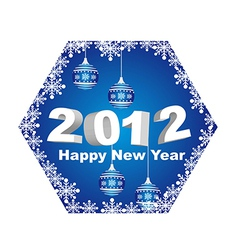 2012 happy new year with christmas balls isolated vector image