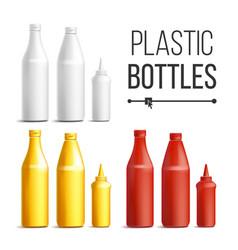 blank white red yellow plastic bottles vector image