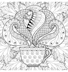 Cup of tea with steam on fall vector image