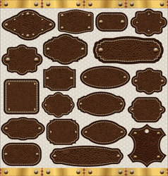 Leather vintage LABELS set vector image vector image