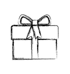 monochrome blurred silhouette of gift box with vector image vector image