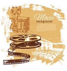 Hand drawn vintage movie and cinema background vector