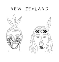 New Zealand Maori tribe a man and a woman vector image