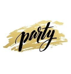 Party golden Brush lettering vector image