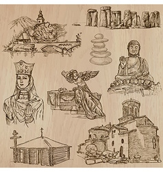 Religion around the World - freehand pack vector image