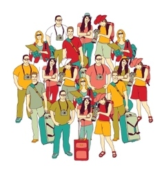 Tourism travel group people color isolate white vector image