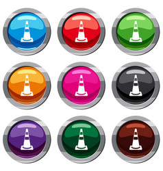 traffic cone set 9 collection vector image vector image