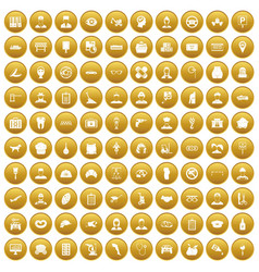 100 favorite work icons set gold vector