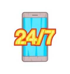 24 7 phone support icon cartoon style vector image