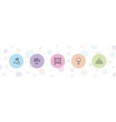 5 tree icons vector
