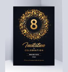 8 years anniversary invitation card template vector