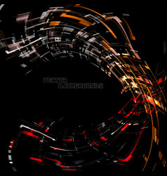 Abstract geometry colors curved motion on a black vector