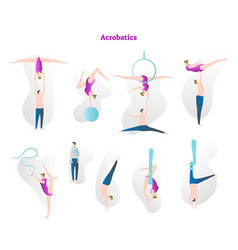 Acrobatics show stunt tricks collection vector