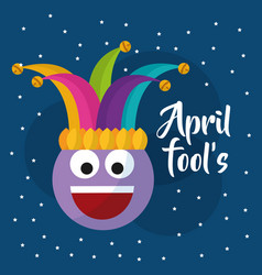 April fools day smile emoticon jester hat dots vector